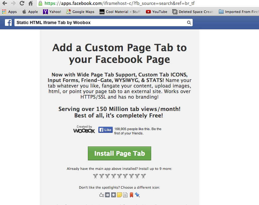 Install Woobox Facebook Tab