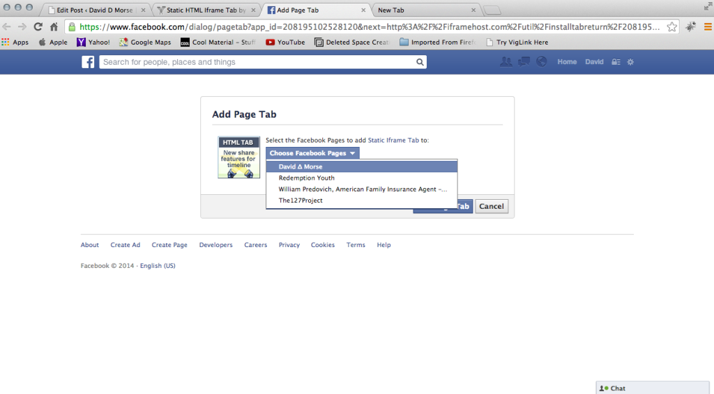 Add Page Tab to FB Page