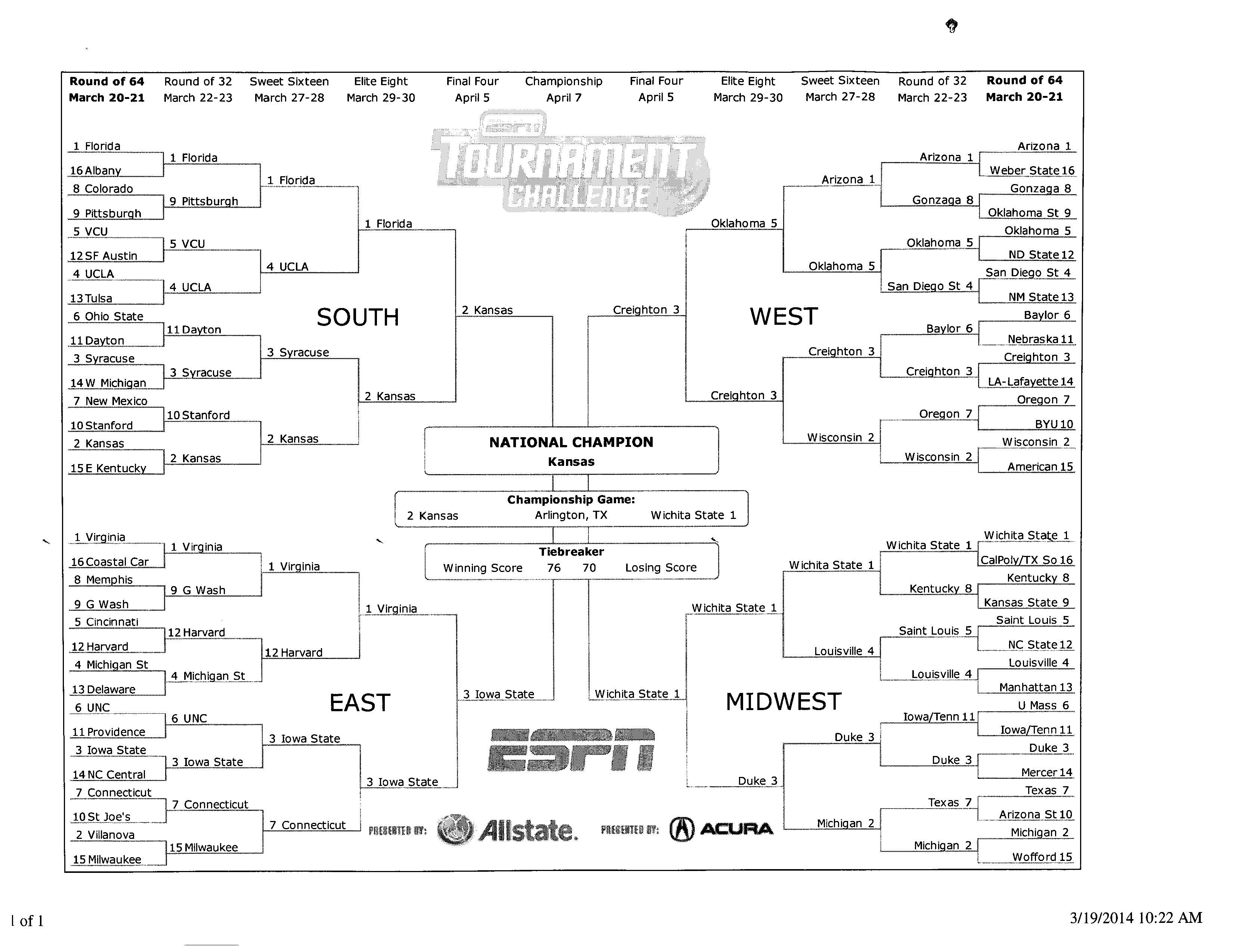 My 2014 NCAA Bracket